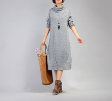 Wholesale new design girl's christmas autumn winter long sleeve turtleneck knit sweater dress