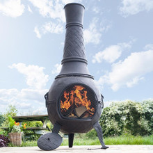 Large Cast Iron outdoor Chiminea with a weave pattern
