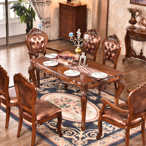 European Antique Neo Classic 100% Solid Wood Rectangle Dining Table And Chairs