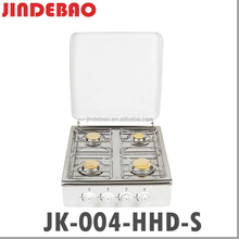 JK-004HHD-S Europe Popular Style Cooktop High Quality Stainless Steel Table Gas Cooker Range with 4 Burner and Windshield