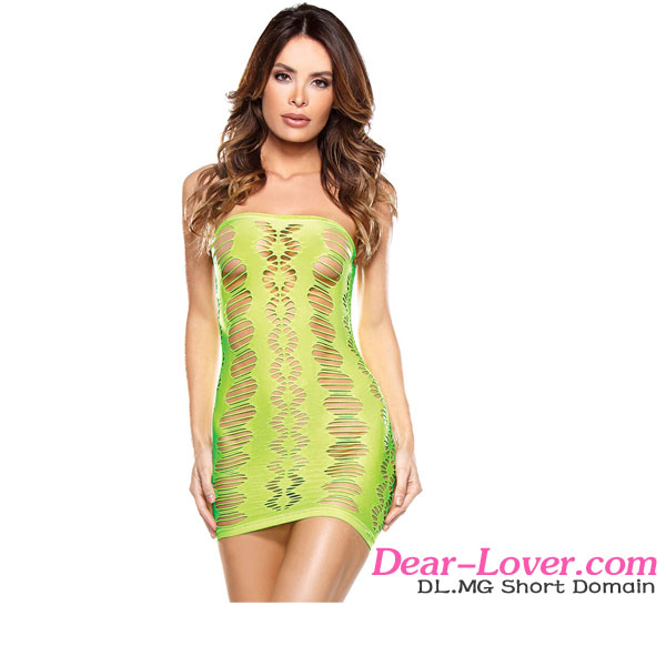 2016 Hot Open Mature Women Cheap Neon Green Cutout Seamless Sexy Mesh Chemise Lingerie