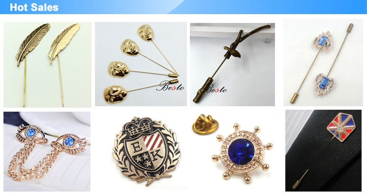 Guangzhou factory new custom metal lapel pins for men's suits label