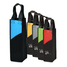 New Style good quality promotional pp non woven single wine bottle gift tote carrier bag with custom logo print