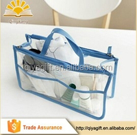 wholesale clear transparent waterproof pvc two zipper toe cosmetic bags storage bag with compartment