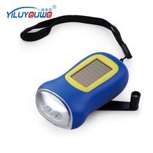 Hot Promotional Product Gift Plastic Small Dynamo Solar Power Rechargeable LED Flashlight With Hand Crank For Outdoor