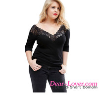 Plus Size Off Shoulder V Lace Neckline Spliced Curve 3/4 Sleeve Women Tops