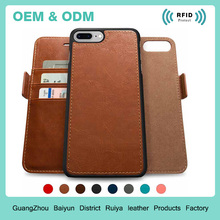 RFID Blocking Leather Detachable Wallets Case For Iphone 7 Or 6