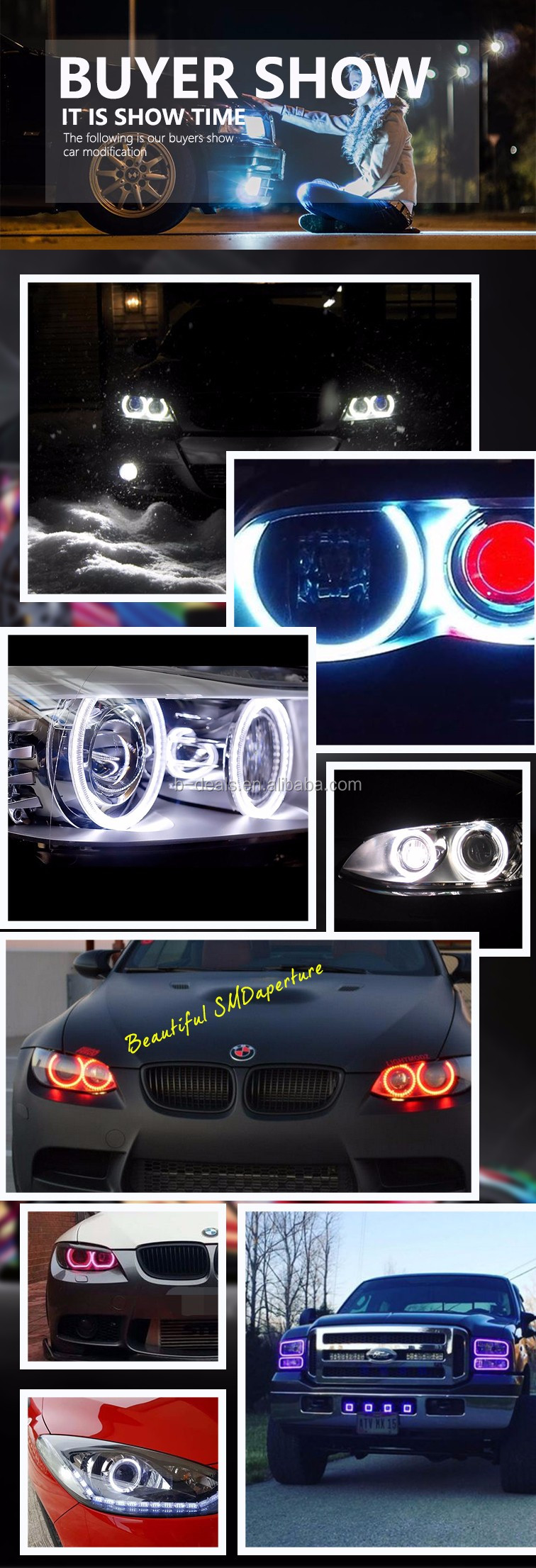 Smoked U-Shape LED Cutted Ring E92 M3 M4 F30 Angel Eyes