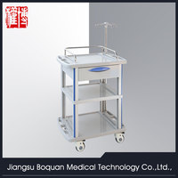 One drawer plastic-steel columns with a plate for loading medium size ABS clinic trolley