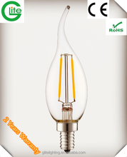 China Factory Cheap LED Bulb E14 2W LED Bulb Light filament C35 Candle lamp