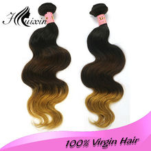 Factory Price Good quality wefts colored three tone hair weave 100% human ombre hair weaving