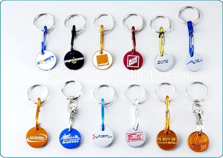 Custom supermarket trolley coin keyring,custom shape trolley coin keyring