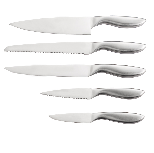 A3349 Stainless Steel Hollow Handle Kitchen Knife Set Metal Cutlery Set