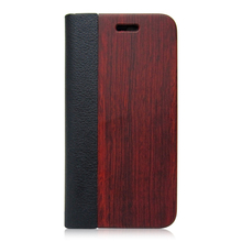 2017 Mobile Phones Original Wood Flip Leather Case for iPhone 7 Wooden Case