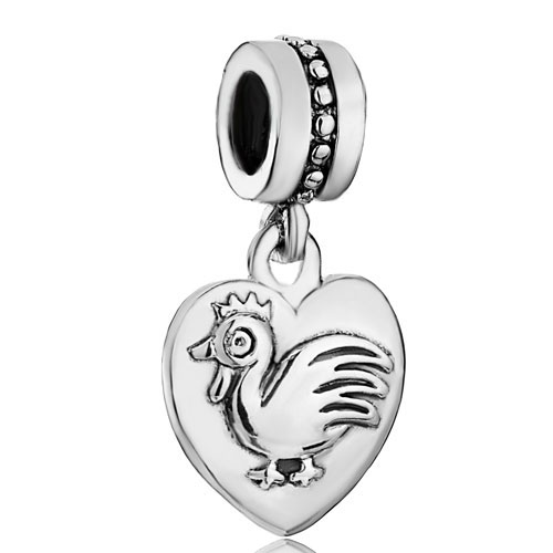 S715 Animal Charm Cock Dangle Heart Love Beads S925 Sterling Silver Beads Charm