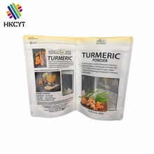 Customized Resealable Stand Up Food Grade Plastic Packaging Laminated Food Bag With Window For 14oz Turmeric Powder