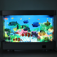 Eco-friendly 3d moving background Fish Tank Aquarium with LED white light Ocean Aquarium Picture Motion Moving Lamp Night Light