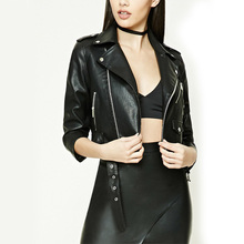Cool women wear black asymmetrical zippered front faux leather jackets made in india