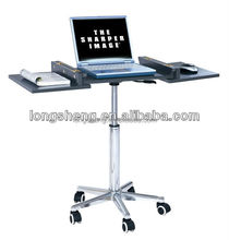 Height Adjustable Wooden Foldable Laptop Stand With Wheels