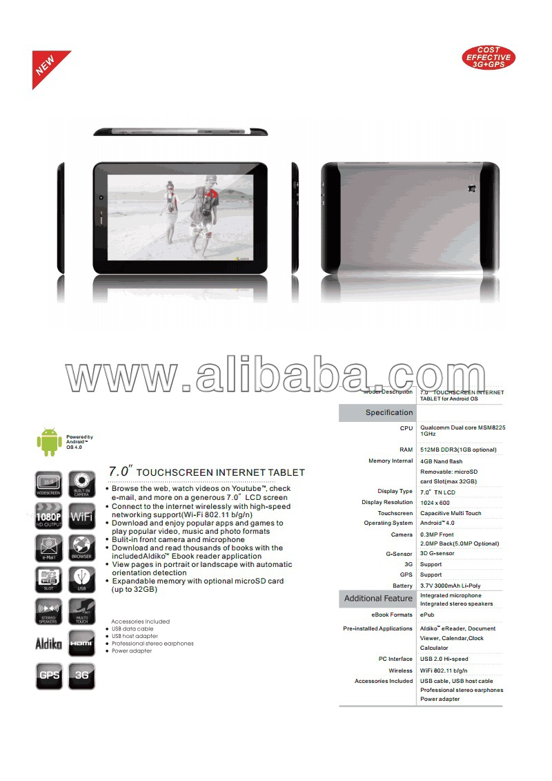 7'' Tablet Android 4.0 512 MB RAM 3G SIM VOICE CALLING