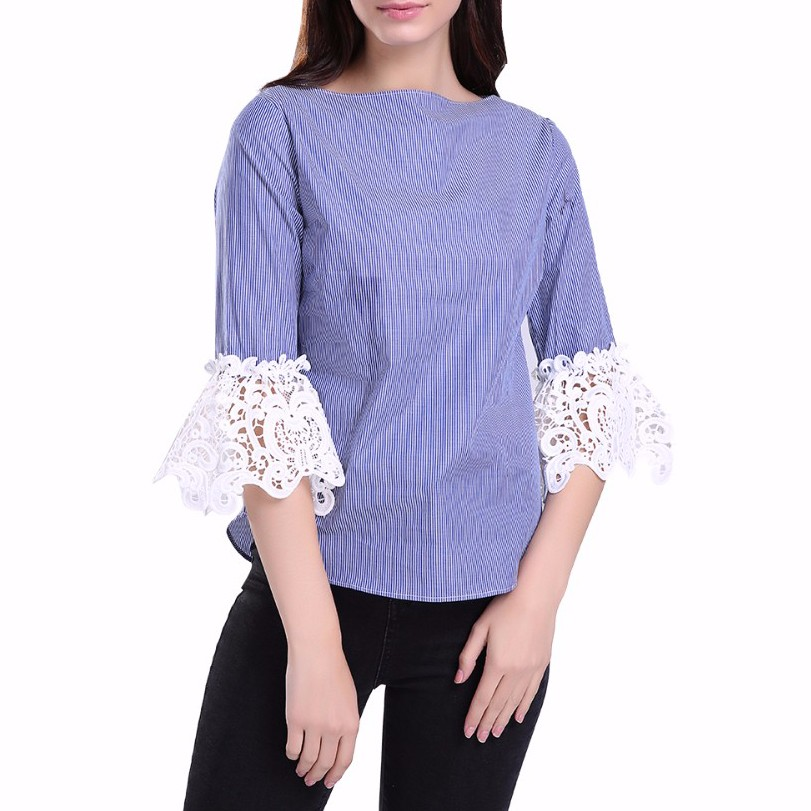 Women New Arrival Lace Sleeve Blouse Striped Printed Tops Office Wear