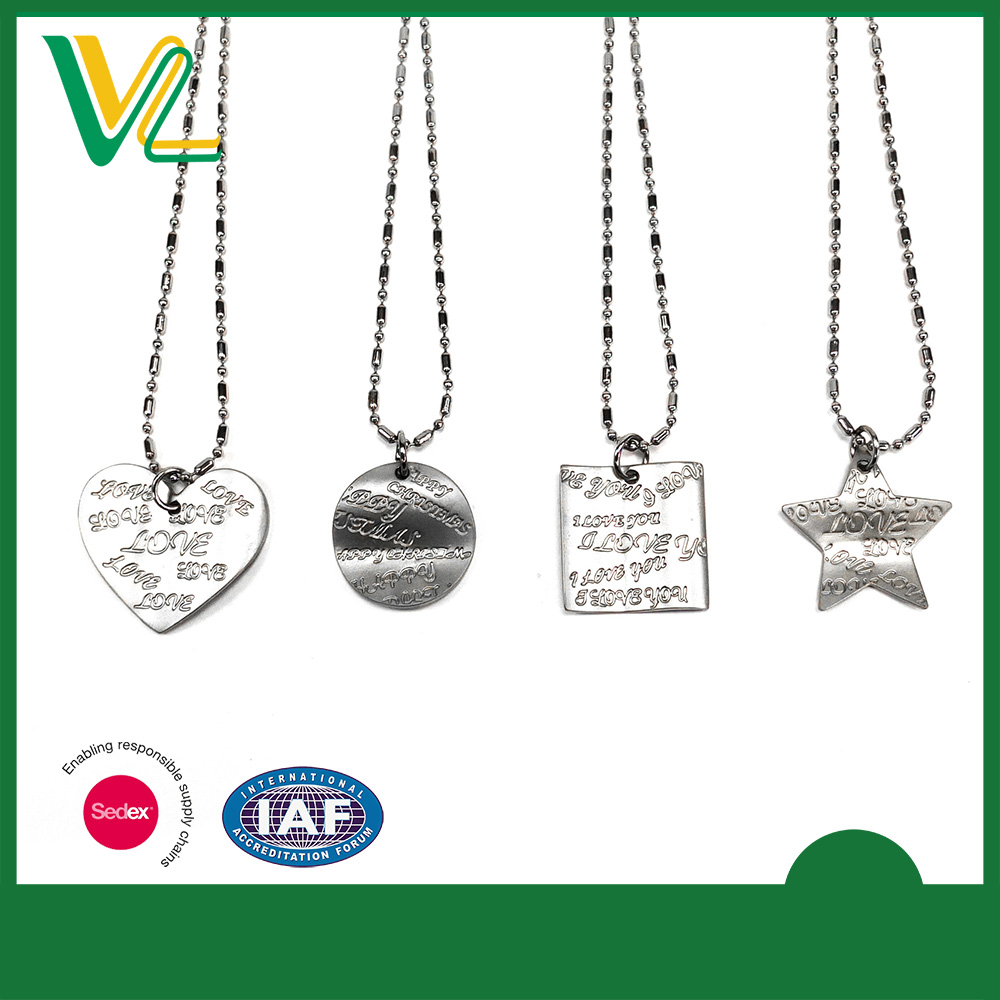 Tailor made Hot sales Zinc Alloy laser engraved shape Silver 3D Necklaces for man