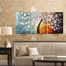 Modern Canvas Painting Contemporary Art Paintings 3 Panel Palette Knife Tree Still Life Print to Canvas