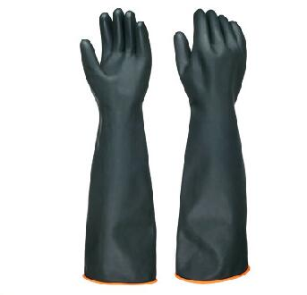 280g long sleeve black rubber industrial gloves