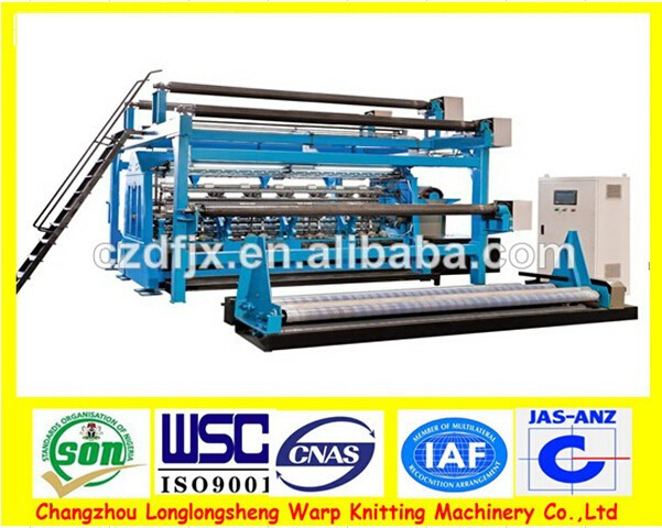 Computerized double bed warping knitting machine