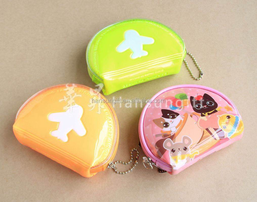 fancy personalized clear pvc mini coin purse