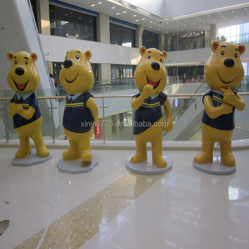 Cheap price high quality FRP fiberglass catoon movie Winnie the pooh sculpture quotes