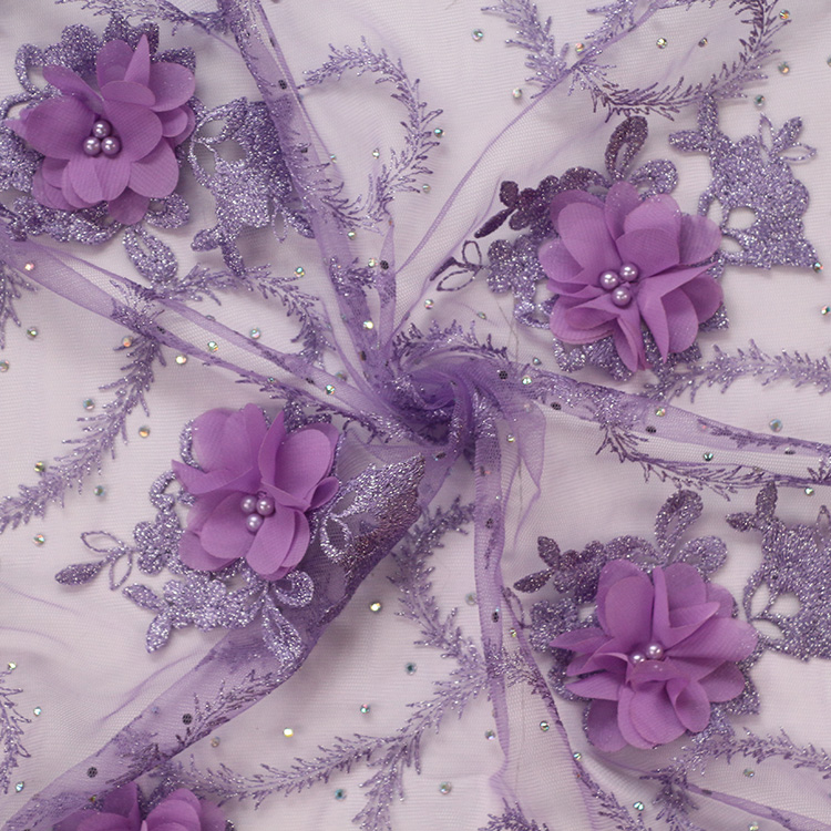 high class 3D flowers embroidery beads french net lace fabric
