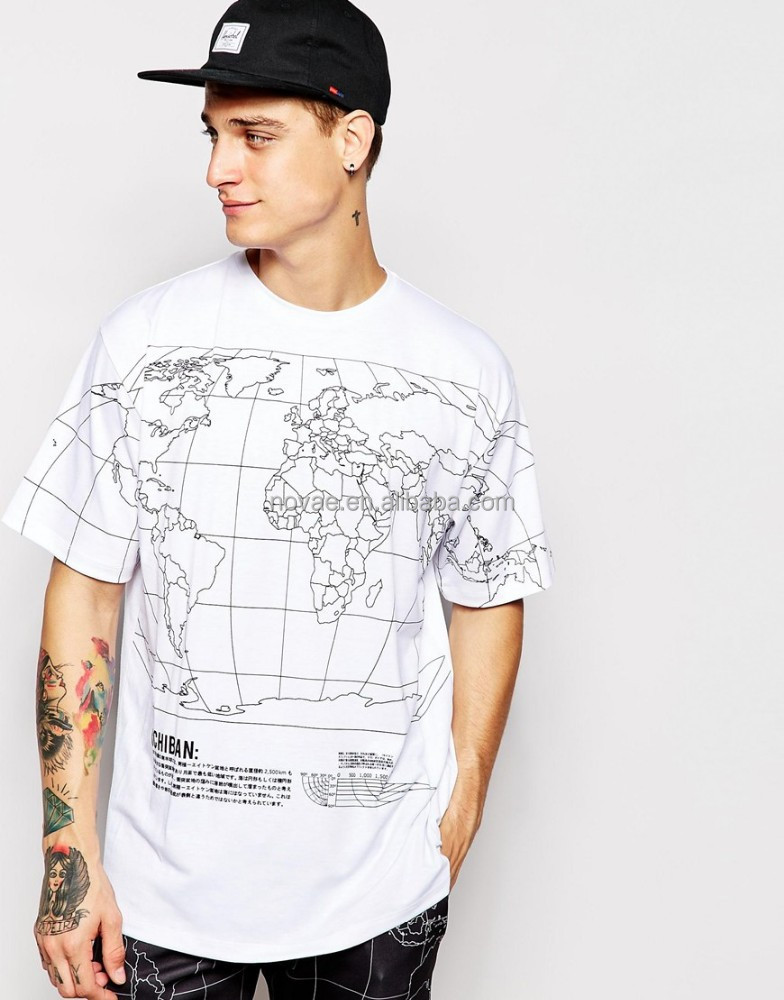Cheap wholesale custom world map printed mens t shirt 100 for Print t shirt cheap