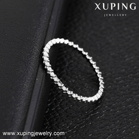 13925 Xuping elegant rhodium color finger ring thin gear shaped knuckle o ring