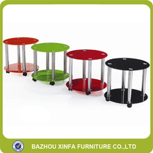Industrial Double Layer With Wheels Small Mini Round Glass Table Coffee
