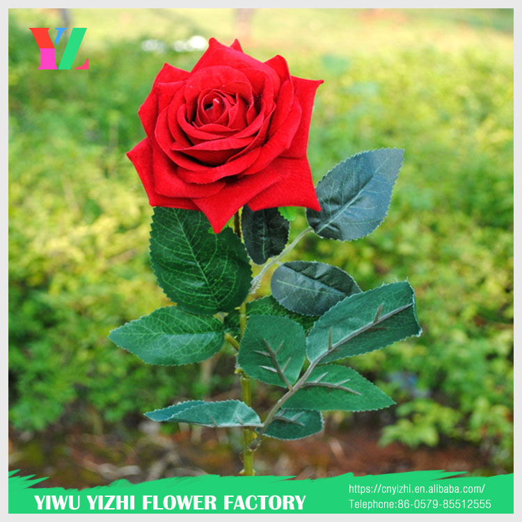 high quality velvet wedding table gift for guests decorative flowers artificial big red roses