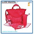 Multifunctional Polyester Red Baby Diaper Bag