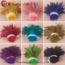Wholesale colorful Chicken feather cheap Rooster Tail Feathers dyed Rooster Saddle Feather Strung for DIY decoration accessories