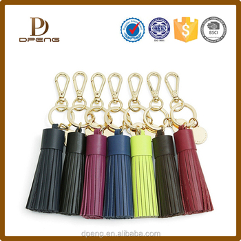 Wholesale colorful small leather tassel with gold cap for keychain car mobilephone jewelry
