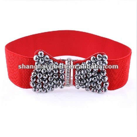 red elastic fabric wide butterfly belt,cheap rhinestone belt YJ-HY0068