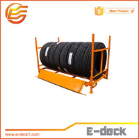 Portable customized heavy duty warehouse tire rack for tire storage