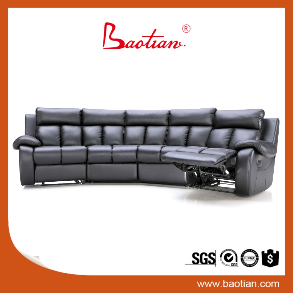 Modern Home theater style genuine leather recliner sofa