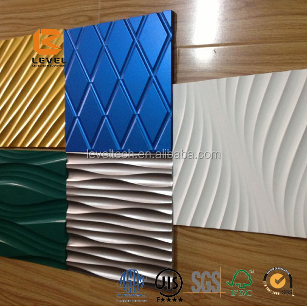 Wall Decoration 3D Wave MDF Board 3D Wall Panel Embossed Wall Paneling