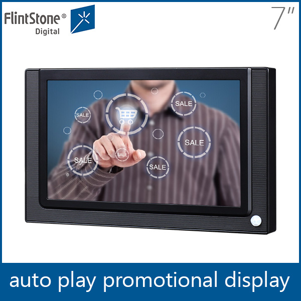 flintstone 7 inch indoor very small lcd screen, hot touch screen video display, point of purchase digital signage player
