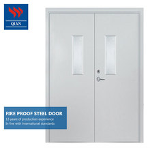 double leaf door 1 hour fireproof perlite core hotel metal fire door with vision panels