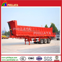 3 axles rear end dump tri axle end front lifting dumper dumping tipper tipping semi trailer truck for sand coal