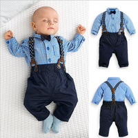 Wholesale 3pcs gentleman long sleeve plain stripe and bowtie infant and toddler clothing set
