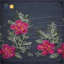 Soft fabric design 3d flower floral embroidered tulle fabric for garment accessories