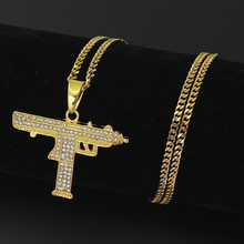 2 Colors Hip Hop Gun Shape Pendants Necklace men fashion jewellery 24inch stainless steel cuban chain N649
