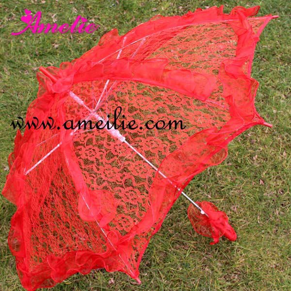Fashion Red Dot Lace Lady Short Umbrella